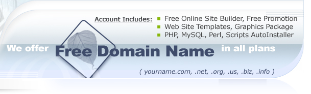 Features: Domain Name, Online Site Builder, Web Site Templates...